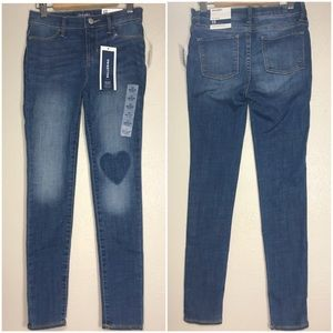 NWT OLD NAVY BALLERINA HEART PATCH JEANS SZ 12
